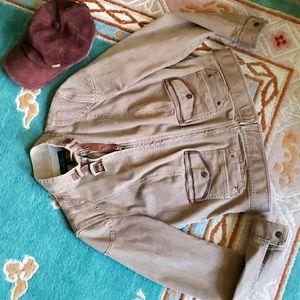 Ralph lauren moto style brown denim jacket zip